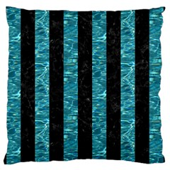 Stripes1 Black Marble & Blue Green Water Large Cushion Case (two Sides) by trendistuff