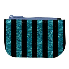 Stripes1 Black Marble & Blue Green Water Large Coin Purse by trendistuff