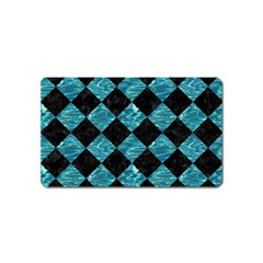 Square2 Black Marble & Blue Green Water Magnet (name Card) by trendistuff