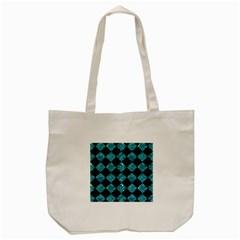 Square2 Black Marble & Blue Green Water Tote Bag (cream) by trendistuff