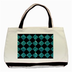 Square2 Black Marble & Blue Green Water Basic Tote Bag by trendistuff