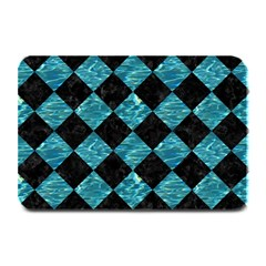 Square2 Black Marble & Blue Green Water Plate Mat by trendistuff
