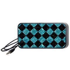 Square2 Black Marble & Blue Green Water Portable Speaker (black) by trendistuff