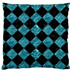 Square2 Black Marble & Blue Green Water Large Cushion Case (one Side) by trendistuff