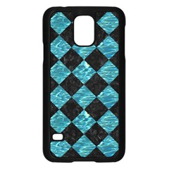 Square2 Black Marble & Blue Green Water Samsung Galaxy S5 Case (black) by trendistuff