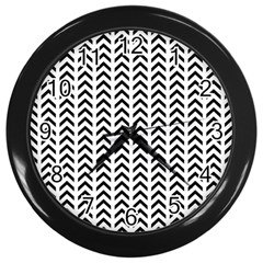 Chevron Triangle Black Wall Clocks (black) by Mariart