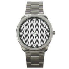 Chevron Triangle Black Sport Metal Watch by Mariart