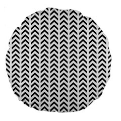 Chevron Triangle Black Large 18  Premium Round Cushions by Mariart