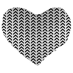 Chevron Triangle Black Large 19  Premium Heart Shape Cushions by Mariart
