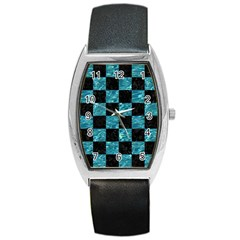 Square1 Black Marble & Blue Green Water Barrel Style Metal Watch by trendistuff