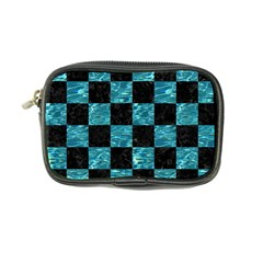 Square1 Black Marble & Blue Green Water Coin Purse by trendistuff