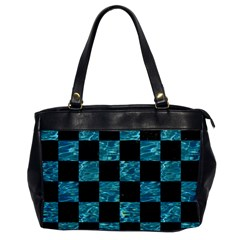 Square1 Black Marble & Blue Green Water Oversize Office Handbag by trendistuff