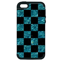 Square1 Black Marble & Blue Green Water Apple Iphone 5 Hardshell Case (pc+silicone) by trendistuff