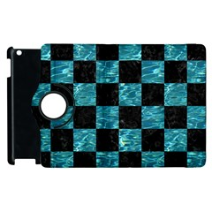 Square1 Black Marble & Blue Green Water Apple Ipad 3/4 Flip 360 Case by trendistuff
