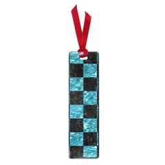 Square1 Black Marble & Blue Green Water Small Book Mark by trendistuff