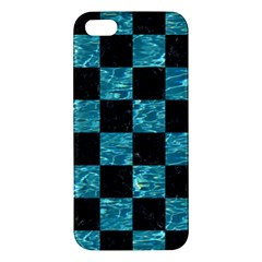 Square1 Black Marble & Blue Green Water Apple Iphone 5 Premium Hardshell Case by trendistuff