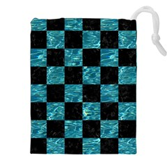 Square1 Black Marble & Blue Green Water Drawstring Pouch (xxl)