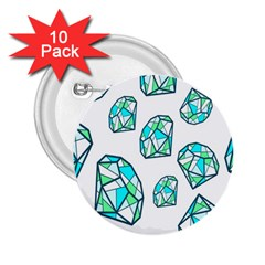 Brilliant Diamond Green Blue White 2 25  Buttons (10 Pack)