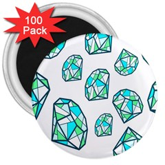 Brilliant Diamond Green Blue White 3  Magnets (100 Pack) by Mariart