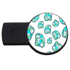 Brilliant Diamond Green Blue White Usb Flash Drive Round (2 Gb) by Mariart