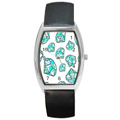 Brilliant Diamond Green Blue White Barrel Style Metal Watch by Mariart