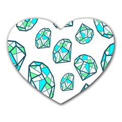 Brilliant Diamond Green Blue White Heart Mousepads by Mariart
