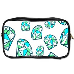 Brilliant Diamond Green Blue White Toiletries Bags 2 Side by Mariart