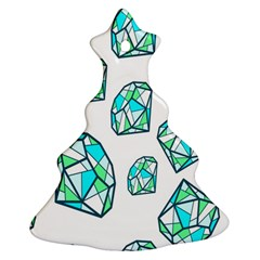 Brilliant Diamond Green Blue White Christmas Tree Ornament (two Sides) by Mariart