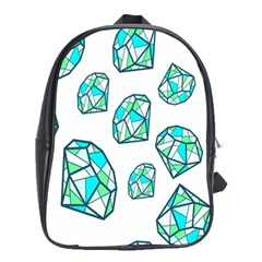 Brilliant Diamond Green Blue White School Bags (xl)  by Mariart
