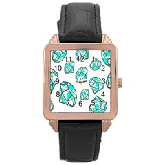 Brilliant Diamond Green Blue White Rose Gold Leather Watch  by Mariart