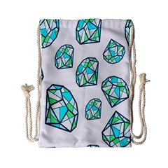 Brilliant Diamond Green Blue White Drawstring Bag (small) by Mariart
