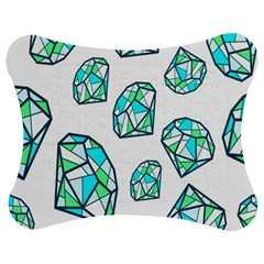 Brilliant Diamond Green Blue White Jigsaw Puzzle Photo Stand (bow) by Mariart