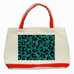 Skin5 Black Marble & Blue Green Water Classic Tote Bag (red) by trendistuff