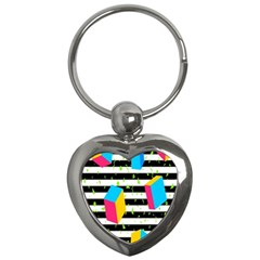 Cube Line Polka Dots Horizontal Triangle Pink Yellow Blue Green Black Flag Key Chains (heart)