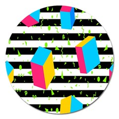 Cube Line Polka Dots Horizontal Triangle Pink Yellow Blue Green Black Flag Magnet 5  (round) by Mariart