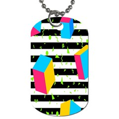 Cube Line Polka Dots Horizontal Triangle Pink Yellow Blue Green Black Flag Dog Tag (two Sides) by Mariart