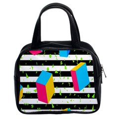 Cube Line Polka Dots Horizontal Triangle Pink Yellow Blue Green Black Flag Classic Handbags (2 Sides) by Mariart
