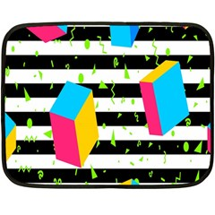 Cube Line Polka Dots Horizontal Triangle Pink Yellow Blue Green Black Flag Fleece Blanket (mini) by Mariart