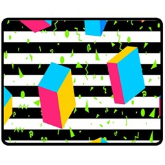 Cube Line Polka Dots Horizontal Triangle Pink Yellow Blue Green Black Flag Fleece Blanket (medium)  by Mariart
