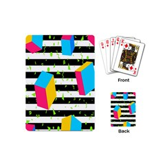 Cube Line Polka Dots Horizontal Triangle Pink Yellow Blue Green Black Flag Playing Cards (mini)  by Mariart