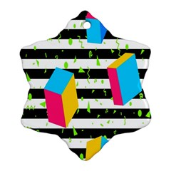 Cube Line Polka Dots Horizontal Triangle Pink Yellow Blue Green Black Flag Snowflake Ornament (two Sides) by Mariart