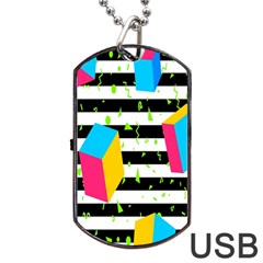 Cube Line Polka Dots Horizontal Triangle Pink Yellow Blue Green Black Flag Dog Tag Usb Flash (one Side) by Mariart