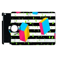Cube Line Polka Dots Horizontal Triangle Pink Yellow Blue Green Black Flag Apple Ipad 2 Flip 360 Case