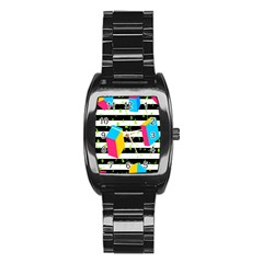Cube Line Polka Dots Horizontal Triangle Pink Yellow Blue Green Black Flag Stainless Steel Barrel Watch by Mariart