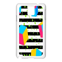 Cube Line Polka Dots Horizontal Triangle Pink Yellow Blue Green Black Flag Samsung Galaxy Note 3 N9005 Case (white) by Mariart