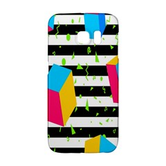 Cube Line Polka Dots Horizontal Triangle Pink Yellow Blue Green Black Flag Galaxy S6 Edge by Mariart