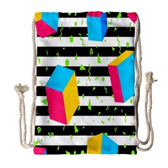 Cube Line Polka Dots Horizontal Triangle Pink Yellow Blue Green Black Flag Drawstring Bag (large) by Mariart