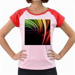 Colorful Abstract Fantasy Modern Green Gold Purple Light Black Line Women s Cap Sleeve T Shirt