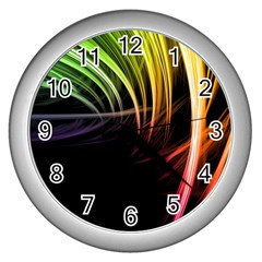 Colorful Abstract Fantasy Modern Green Gold Purple Light Black Line Wall Clocks (silver)  by Mariart