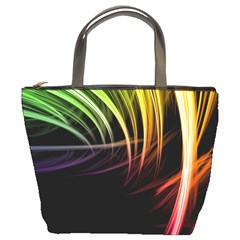 Colorful Abstract Fantasy Modern Green Gold Purple Light Black Line Bucket Bags